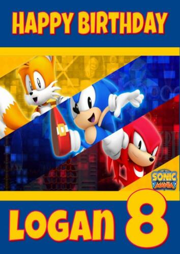 SONIC THE HEDGEHOG D2 PERSONALISED BIRTHDAY CARD ANY NAME AGE RELATION