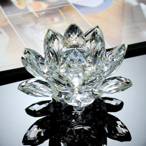10cm Buddhist Feng Shui Crystal Lotus Flower Statue Figure Home Decor White