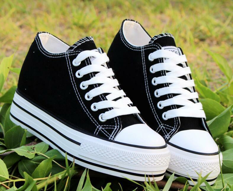 Womens Canvas Lace Up Wedge Heels Sneakers Preppy Platform Creeper NEW HOT shoes