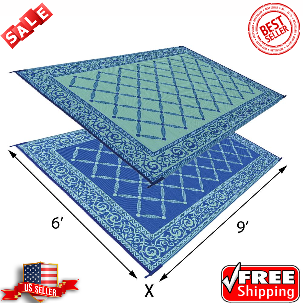 Camco 42873 6 X 9 Ft Reversible Outdoor Mat Charcoal Stripe For Sale Online Ebay