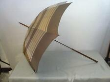 *VINTAGE PARAGON FOX UMBRELLA W /MARBLED EFFECT HANDLE & STRIPED BROWN CANOPY*