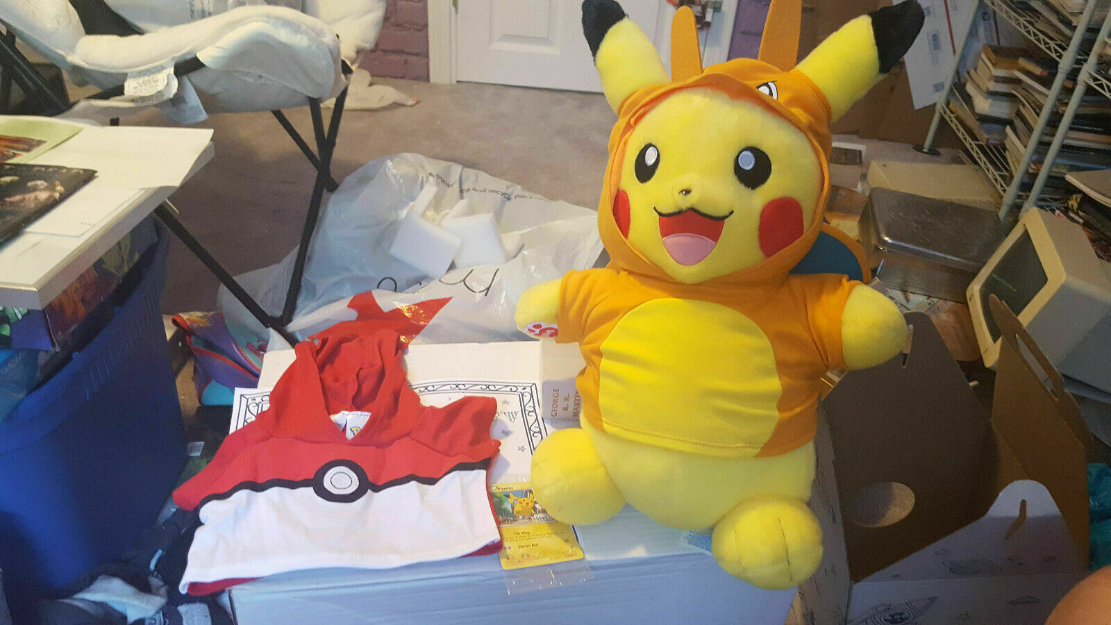 NWT Build A Bear Pikachu Web Exclusive Charizard Set AND Pokeball Hoodie and TCG