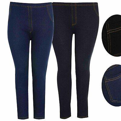 New Women/'s Ladies Plus Size Stretchy Denim Look Skinny Jeggings Leggings 8-26