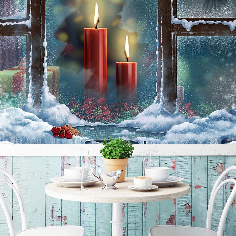 3D Christmas rot large candle WallPaper Murals Wall Print Decal AJ WALLPAPER