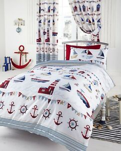 Nautical Lighthouse Kids Reversible Striped Duvet Quilt