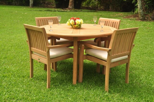52 Round Table.Grade A Teak Wood Sack 5pc Dining 52 Round Table 4 Arm Chair Set Outdoor Patio