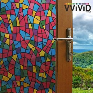"""VViViD Privacy Window Glass Film 36"""" x 15ft Stained Glass Home Decor Removable"""