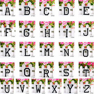 Letter a z embroidered iron on patch sew clothing motif for Sew on letters for clothing