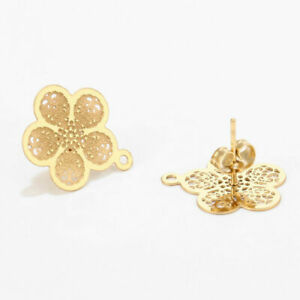Wholesale Gold Tone Stainless Steel Stud DIY Earrings Findings Drop with Hole
