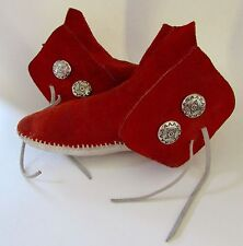 VTG Taos Moccasins Native Maid Red Ankle Boots ConchoTied Sz 9, 9.5