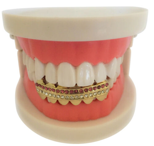 Hip Hop Iced 14K Gold GP Mouth Teeth Grills Grillz Bottom Lower 2 Row Pink