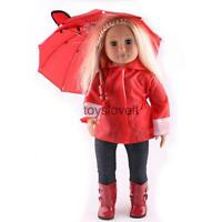 Raincoat Set Pants Boots Outfit For American Girl 18inch Doll Clothes Red