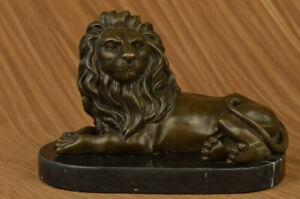 Firmato-Milo-Africano-Leone-King-Of-Jungle-Bronzo-Scultura-Caldo-Calco-Figurina
