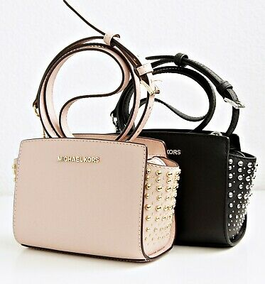 Michael Kors Bag Shoulder Bag Selma Studded Small Messenger Pink New | eBay