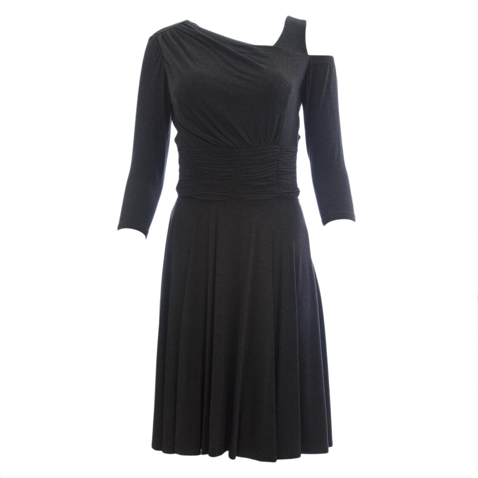 Nue von Shani Damen Grau Schulter Ausgeschnitten A-Linie Kleid S293 Nwt