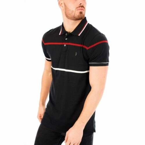 Luke Mens Obrien Yarn Dyed Stripe Polo Black