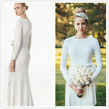 Column Wedding Dress Simple Bridal Gown Vintage Modest Size 6 8 10 12 14 16 18W+