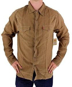 BRAND-NEW-LEVI-039-S-MEN-039-S-LINEN-LONG-SLEEVE-CASUAL-DRESS-SHIRT-BROWN-8151400