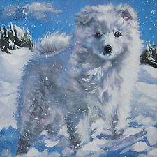 "AMERICAN ESKIMO dog portrait art Canvas PRINT of LAShepard painting LSHEP 8x8"""