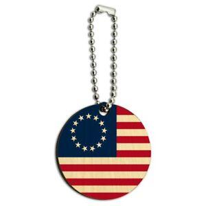 Farm Tractor American Team USA Flag Farming Wood Wooden Round Keychain Key Chain