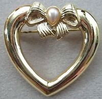 Love Heart Vintage Brooch Pin In Gold Plate With A Faux Pearl, Valentines,