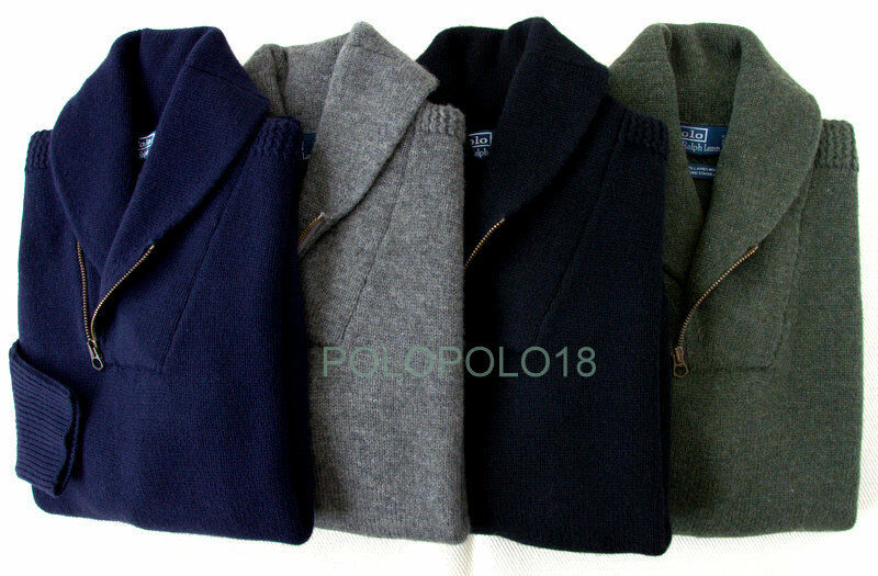 New Polo Ralph Lauren Shawl Half Zip Sweater Lambs Wool S M XL 2XL