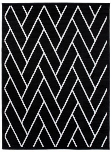Teppich Modern Kurzflor Geometrische Muster Wohnzimmer Esszimmer Schwarz Weiß