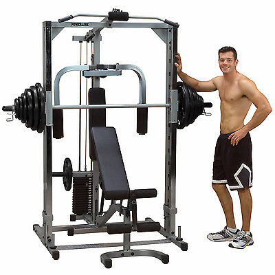 Smith Machine Home Gym Package - Powerline PSM1442XS Fitness Weight Equipment