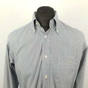 Lacoste vintage pour homme shirt 41 large à manches longues Gris Coupe Standard Carreaux Coton