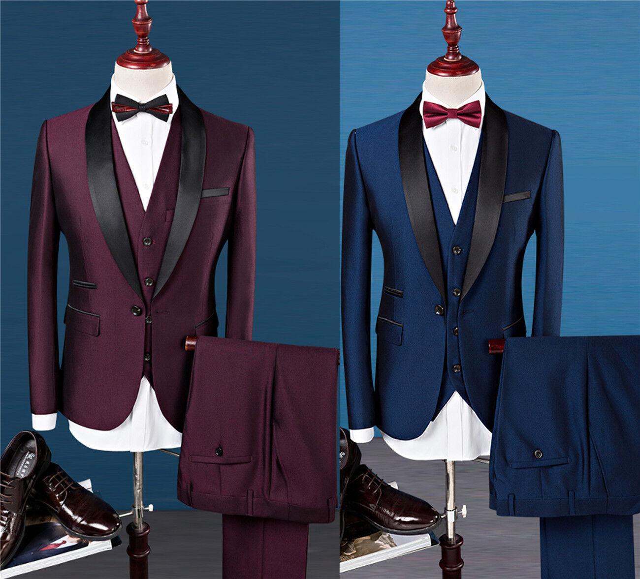 78e1d4210ae43 Burgundy Wedding Groom Best Man Formal Prom Suits Men Tuxedo Suit ...