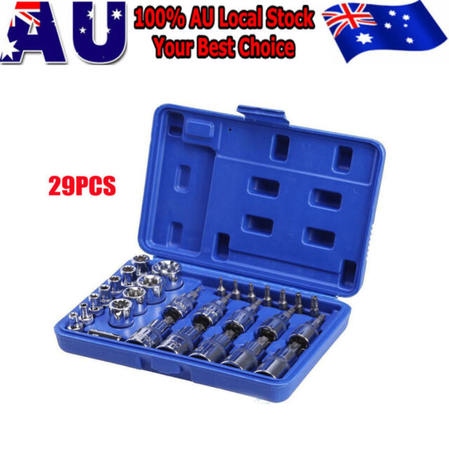 "29pcs 1/2"" 3/8"" 1/4"" Tamper Proof Torx Star Bit Socket Security Set Drive With"