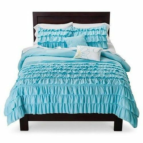 BEAUTIFUL Blau LIGHT AQUA TEAL SOFT MODERN TEEN GIRL RUFFLE PILLOW COMFORTER SET