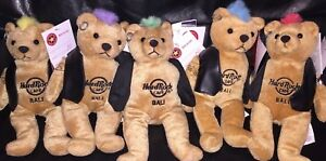 5-Hard-ROCK-Cafe-BALI-2010-PUNK-ROCK-Teddy-Bearas-w-Mohawks-Plush-Bears-ARCHIVE
