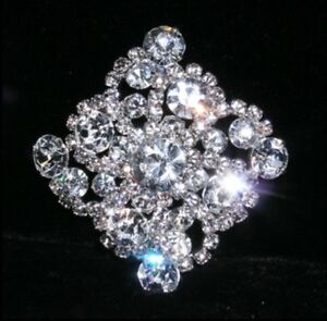 Flower Button Sewing Crafts Rhinestone Crystal Silver Plated Shank Button Women