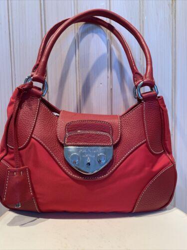 Red Authentic Prada Bag Lock And Key Tessuto And L