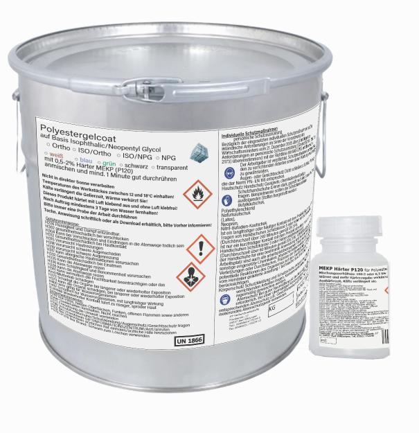 10 kg Gelcoat Gelcoat kg grün ISO/NPG+ 200 ml Härter für Polyesterharz Epoxidharz Stiefelbau 8423fa