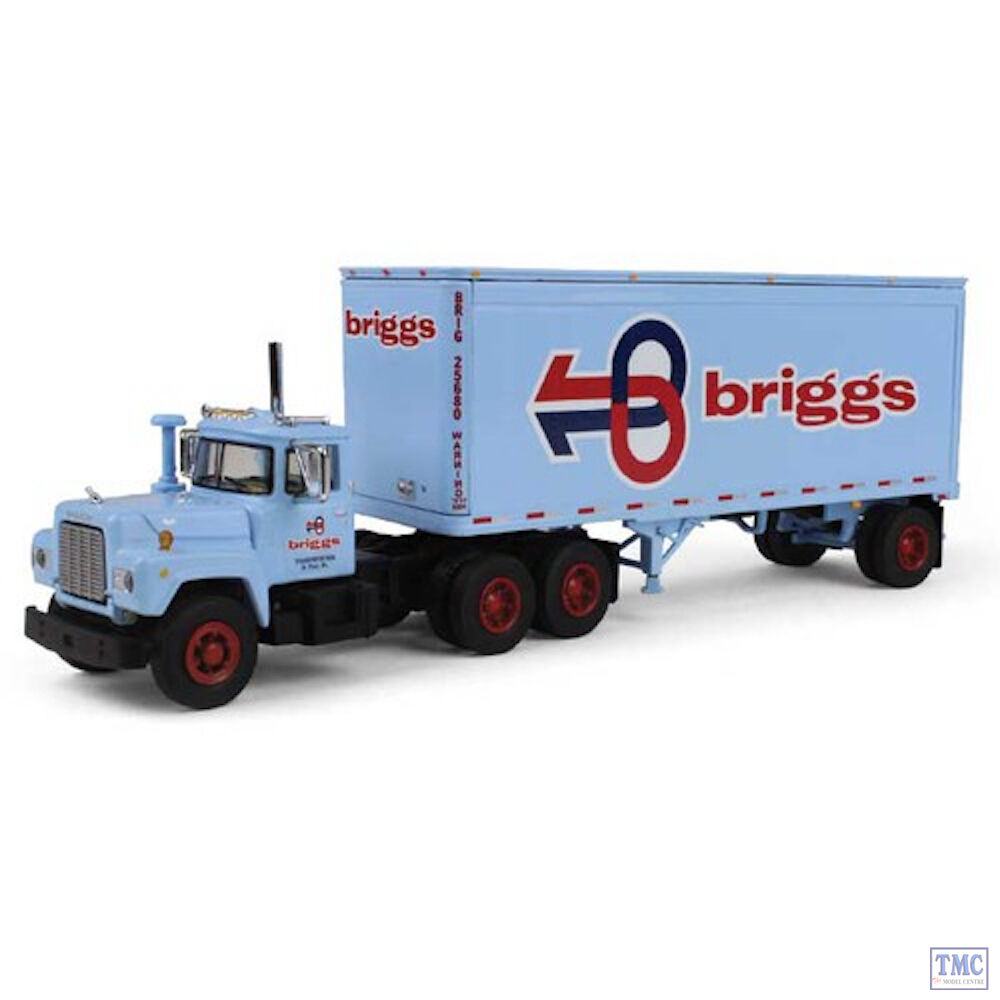 60-0284 1 64 SCALE  Mack R Model with 28' Pup Trailer 'Briggs Transportation'