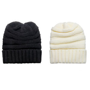 26057944bcc Men Women Soft Chunky Thick Stretch Knit Slouchy Beanie Skull Winter ...