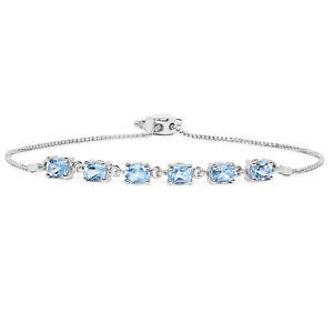 3-ct-Chain-Bracelet-925-Sterling-Silver-Oval-Genuine-Blue-Topaz-Gemstone