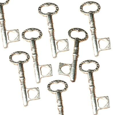 10 STEAMPUNK ANTIQUE SILVER ALICE STYLE KEY CHARM PENDANTS SIZE 15mmx9mm TS31