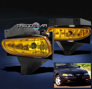 1999 2004 Ford Mustang Bumper Fog Lights Yellow 2000 2001