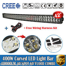 4D+ 400W 40inch Cree LED Light Bar Combo Beam Curved Offroad Truck Boat SUV 42""