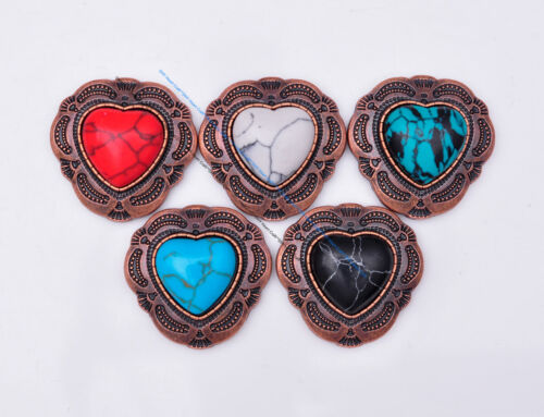 10X Vintage Love Heart Black Turquoise Leathercraft Wallet Belt Concho Screwback