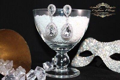 Brautschmuck, Hochzeit Ohrringe,Ohrhänger, L , Silber / Kristall Klar Luxury