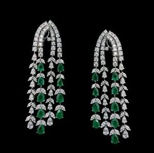 9Ct-Pear-Emerald-Simulant-Diamond-Chandelier-Link-Earrings-White-Gold-Fns-Silver