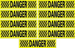LOT-OF-9-GLOSSY-STICKERS-DANGER-HOR-WHITOUT-BORDER-FOR-INDOOR-OR-OUTDOOR-USE