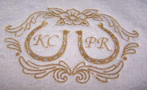 "/""PERSONALIZED EMBROIDERED WEDDING CELEBRATION BATH TOWEL/"" 100/% COTTON"