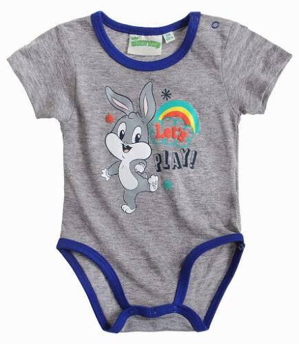 Body Kurzarm Jungen süßes Motiv Looney Tunes grau blau 100/% BW Gr 62 68 80 86 92