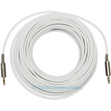 25m 3.5MM WHITE AUDIO JACK TO PLUG CABLE COMPUTER TV IPOD IPHONE 4 HIFI STEREO