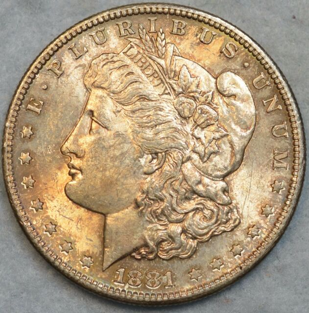 1881 S Morgan Silver Dollar Luster Toned Uncirculated San Francisco Mint 76118